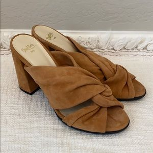 Butter Made in Italy Tan Suede Mules Size 10